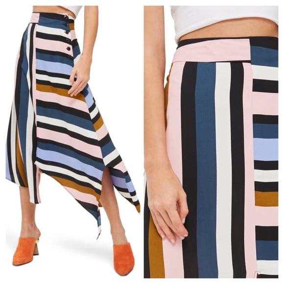 Topshop Dresses & Skirts - Topshop Multi Stripe Asymmetrical Midi Skirt Sz 6